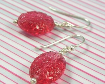 Pressed Red Glass Earrings