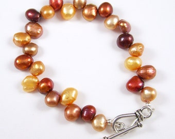 Orange, Yellow and Red Freshwater Pearl Single Strand Bracelet