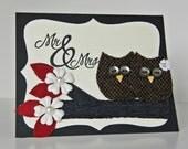 Wedding Owl Card. Anniversary Owl Card. Owl Card. Wedding Card. Greeting Card. Handmade Love Owls Made to Order