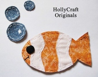 Fish Applique.Fish Patch.Fish Scrapbooking Embellishment. Handmade Fabric Fish. Inspired by Finding Nemo. Clown Fish Patch.Made to Order