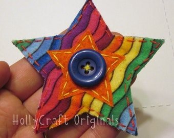 Star Applique, Star Patch, Star Scrapbooking Embellishment, Star, Rainbow Star, Fabric Star Applique, Handmade Star, Made to Order