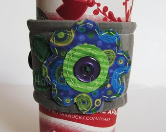 Reusable Coffee Cup Sleeve, Coffee Cup Cozy or Cuff,Coffee Cozy,Coffee Cuff, Cup Cozy, Coffee Sleeve, Flower Coffee Sleeve, Eco-Friendly