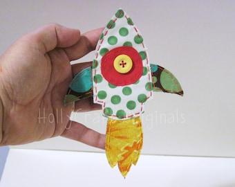 Rocket Applique, Rocket Ship,  Rocket Embellishment, Fabric Rocket, NASA SpaceCraft, Scrapbook Rocket, Spaceship,made to order