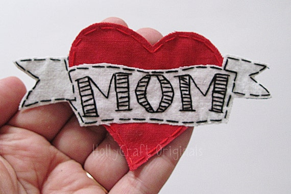 I Love Mom Heart Tattoo Applique, Heart Tattoo, Mom Heart Tattoo Embellishment, Fabric Heart Tattoo, Mom Heart- Made to Order