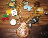 Found Object Charm Bracelet One of a Kind with Vintage Items