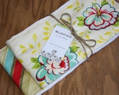 Cute set of 2 burp cloths for hip baby and mama with TAG in Zig Zag Roses Red