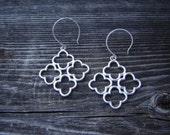 Clover Stack Silver Dangle Earrings
