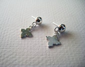 Silver Dot and Floral Earring