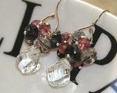 Harlequin Earrings - Topaz  Black Tourmalinated Quartz Sterling Silver