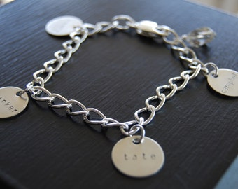 Charm Bracelet on Drawn Cable Chain with Crystal
