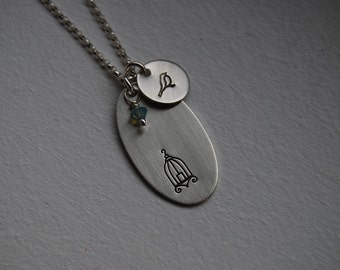 Bird and cage necklace - Silver