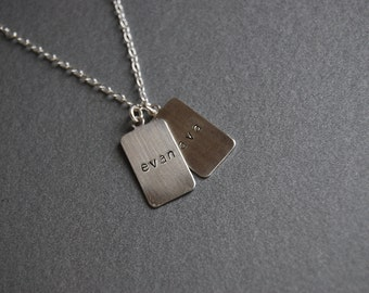 Two Tab necklace with names