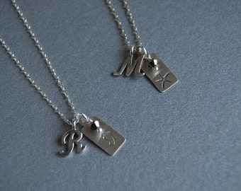 Small tag necklace with initial and crystal