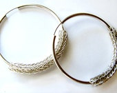 Sterling Silver Viking Knit Hoop Earrings