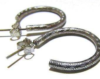 Hoop Earrings Sterling Silver Geometric Art Deco Pattern