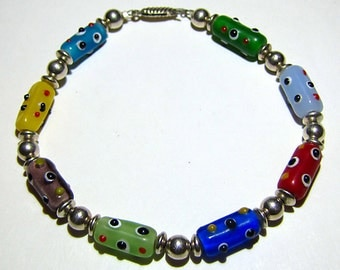 Sterling Silver Bracelet with Glass Bumpy Beads
