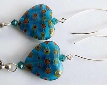 Silver Dangle Earrings Blue Millefiore Glass Hearts