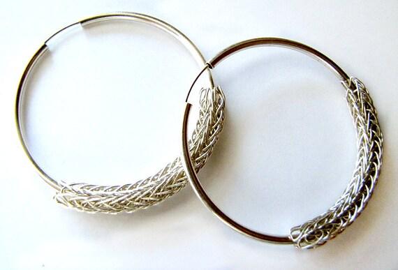 Sterling Silver Viking Knit Hoop Earrings