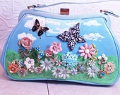 Butterfly Garden Upcycled Art Purse Original Mixed Media Vintage Jewelry Handbag