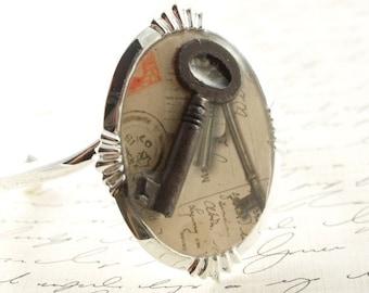 Cuff Bracelet Steapmunk Skeleton Key Wearable Art Mixed Media