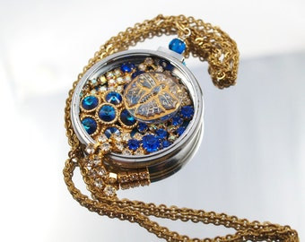 Butterfly Blue Pocket Watch Necklace Vintage Rhinestones Glass Button Assemblage Pendant