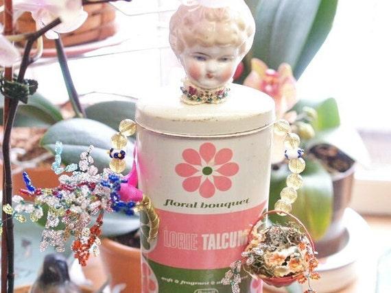 The Florist Assemblage Art Doll Sculpture Lorie Talc Tin Gardening Girl Doll
