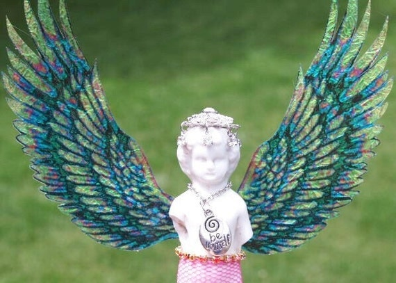 Be Yourself Frozen Charlotte Angel Sculpture Original Mixed Media Altered Doll