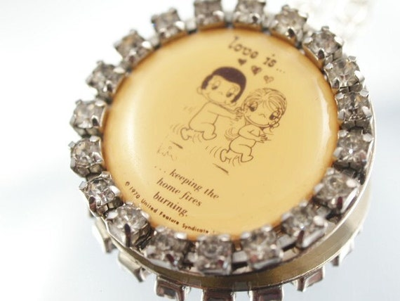 RESERVED Love Is Necklace Retro 70's Love Is Cartoon Assemblage Necklace
