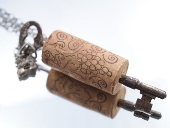 Cork & Key Wine Necklace Skeleton Key Wine Cork Grapes Necklace