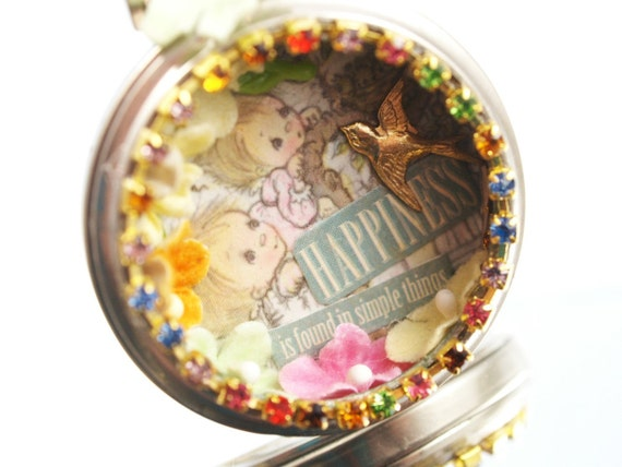 Happiness Pocket Watch Necklace Betsy Clark One-of-a-Kind Pocketwatch Pendant