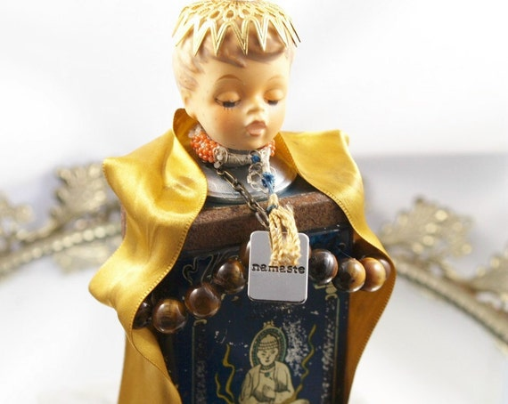 Buddha Art Doll Sculpture Live in the Moment One-of-a-Kind Vintage Tin Assemblage