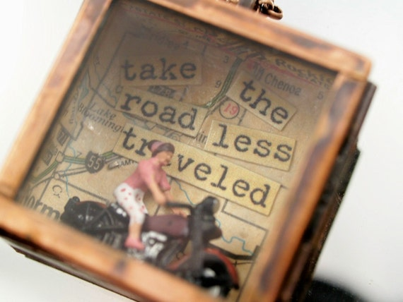 Road Less Traveled Biker Girl Necklace One-of-a-Kind Copper Shadow Box Assemblage Pendant