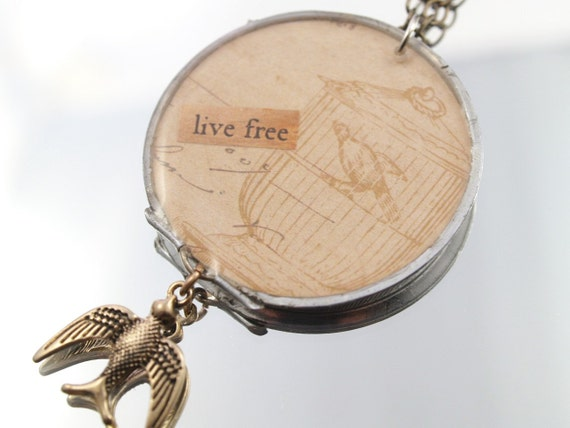 Life Free Bird Cage Necklace One-of-a-kind Mixed Media Pendant