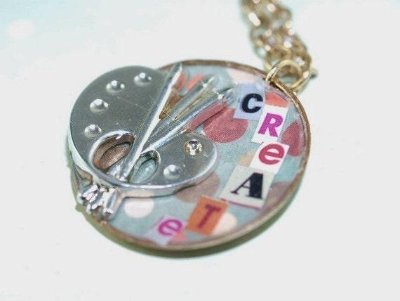 CREATE Painters Palette Mixed Media Petite Pocket Watch Case Necklace
