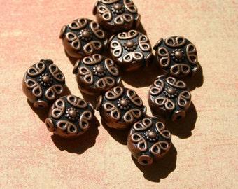 10 Pcs. Antiqued Copper Finish Filigree Scroll Beads - 10mm