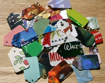 500 Recycled Hand Punched Mini Jewelry Gift Tags Choose Back Color Upcycled Consumer Product Packaging Cardboard Thick Stock Colorful White