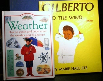 SET of two Vintage Children's Weather Books with BONUS Environment Educational Stories Folk Tales Fables Full Color Illustration Read Aloud