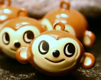 4 Monkey Bell Charms Painted Brass Metal Brown Tan Zoo Animal Curious George Capuchin Orangutan Ape Children's Kids Crafts Jingle Musical