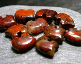 10 Pcs. Poppy Jasper Zuni Style Bear Fetish Beads Small Petite Southwestern Berry Brick Maroon red Merlot Wine Totem Animal Protection Howl