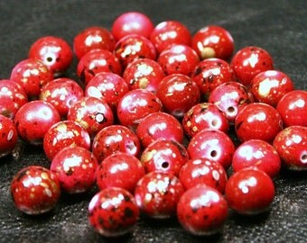 100 Red Speckled Acrylic Splatter Beads - 6mm Metallic Splash Paint Spotted Gold Black White Cherry Ruby Garnet Apple Crimson Scarlet Wine