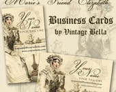 Marie's Friend Elizabeth Drinking Tea  Business Cards By VINTAGE BELLA Professionally Printed