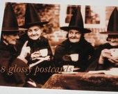8 Vintage Witch Tea Party 4 OLD GALS Postcards for Halloween or Girlfriend Gathering, Professionally Printed