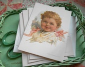 4 Edwardian Baby with Pink Bows Vintage Repro Blank Note Cards by Vintage Bella