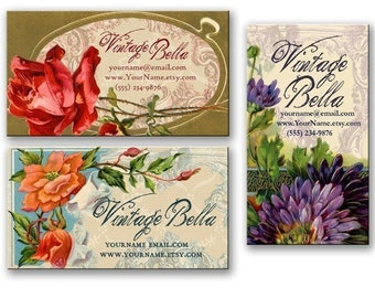 Vintage LOVELY FLORAL Business Cards By Vintage Bella Professionally Printed
