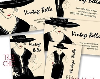 Vintage Bella 250 BUSINESS CARDS Professionally Printed 1918 AMELIE Vintage Fashion Clothing Illustration from Paris