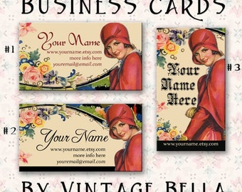 Art Deco Lady in Red Hat Business Cards By VINTAGE BELLA Professionally Printed