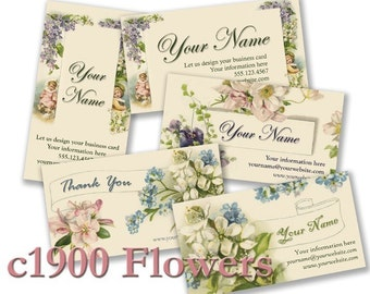 c1900 Flower Designs Vintage Bella BUSINESS CARDS Professionally Printed