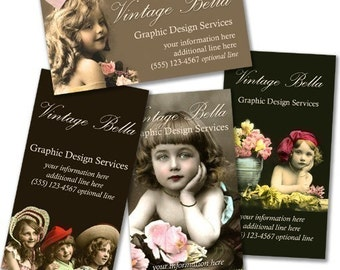 EDWARDIAN GIRLS Business Cards By Vintage Bella Professionally Printed