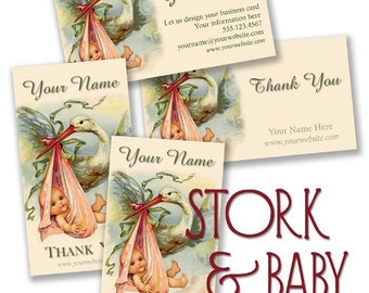 c1920 Baby and Stork BUSINESS CARDS by Vintage Bella professionally printed