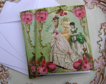 4  framboise et grenade Marie Antoinette Note Cards by Vintage Bella - raspberry and pomegranate